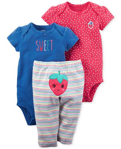 Carter's 3-Pc. Cotton Sweet Strawberry Bodysuits & Pants Set, Baby Girls