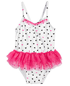 First Impressions 1-Pc. Heart-Print Tulle Swimsuit, Baby Girls, Created for Macy's