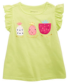 First Impressions Baby Girls Pineapple-Print Cotton T-Shirt, Created for Macy's