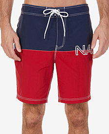 "Nautica Men's Colorblocked Logo-Print Quick-Dry  8"" Swim Trunks"