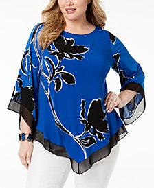 Alfani Plus Size Printed Chiffon-Hem Tunic, Created for Macy's