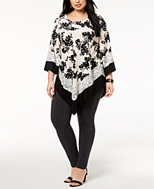 Alfani Plus Size Mixed-Printed Point-Hem Top, Created for Macy's