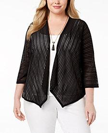 Alfani Plus Size Sheer-Stripe Cardigan, Created for Macy's