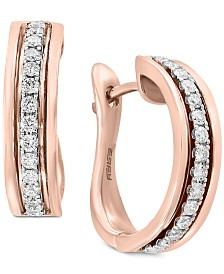 Pavé Rose by EFFY® Diamond Hoop Earrings (1/3 ct. t.w.) in 14k Rose Gold