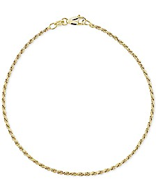 Twist Rope Ankle Bracelet in 18k Gold-Plated Sterling Silver, also available in Sterling Silver, Created for Macy's