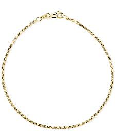 Giani Bernini Twist Rope Ankle Bracelet in 18k Gold-Plated Sterling Silver, Created for Macy's