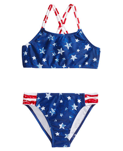 Breaking Waves 2-Pc. Stars & Stripes Bikini, Little & Big Girls