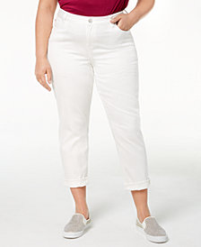 Celebrity Pink Plus Size Boyfriend-Fit Ankle Jeans