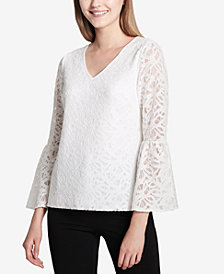 Calvin Klein Lace Bell-Sleeve Top
