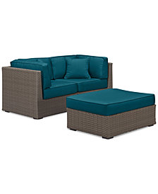 South Harbor Outdoor 3-Pc. Modular Seating Set (2 Corner Units & 1 Ottoman), with Custom Sunbrella® Colors, Created for Macy's