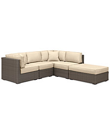 South Harbor Outdoor 5-Pc. Modular Seating Set (2 Corner Units, 2 Armless Units & 1 Ottoman), with Custom Sunbrella® Colors, Created for Macy's