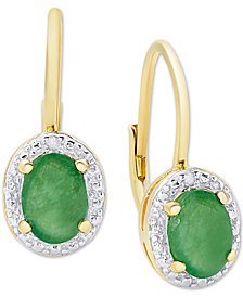 Emerald (1-1/2 ct. t.w.) & Diamond Accent Drop Earrings in 18k Gold-Plated Sterling Silver