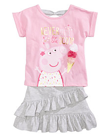 Nickelodeon's® Peppa Pig 2-Pc. Bow-Back T-Shirt & Ruffled Skirt Set, Little Girls