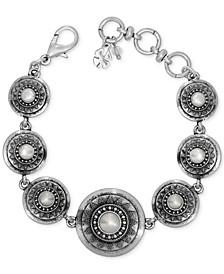 Silver-Tone Imitation Pearl Star Disc Link Bracelet