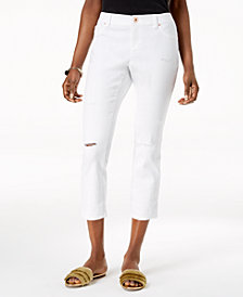 I.N.C. Curvy-Fit Ripped Cropped Jeans, Created for Macy's