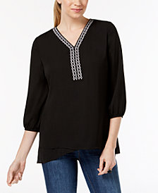 JM Collection Petite Embroidered-Neck Peasant Top, Created for Macy's