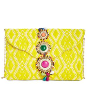 BEADED & EMBROIDERED CLUTCH - YELLOW