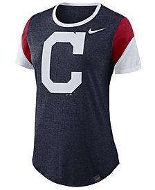 Nike Women's Cleveland Indians Tri-Blend Crew T-Shirt