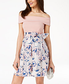B Darlin Juniors' Off-The-Shoulder Printed-Skirt Fit & Flare Dress