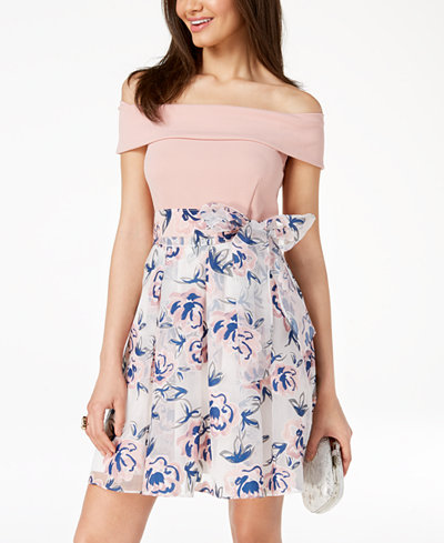 B Darlin Juniors' Off-The-Shoulder Printed-Skirt Fit & Flare Dress