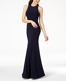 B Darlin Juniors' Illusion Strappy-Back Gown