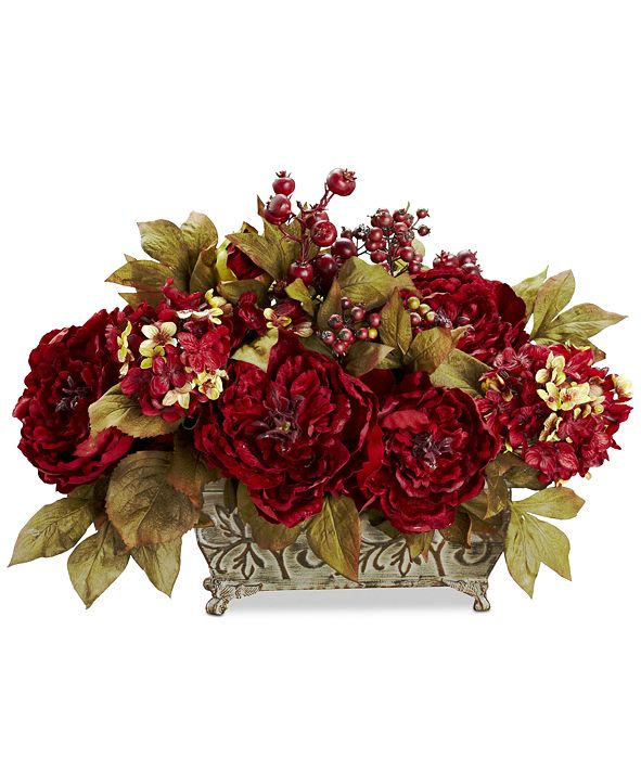 Nearly Natural Peony & Hydrangea Flower Arrangement