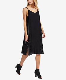 Avec Les Filles Piped Snap-Hem Slip Dress