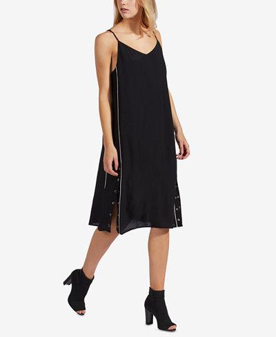 Avec Les Filles Piped Snap-Hem Slip Dress