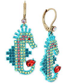 Betsey Johnson Two-Tone Multi-Crystal Seahorse Drop Earrings