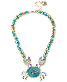 "Betsey Johnson Two-Tone Multi-Stone Crab Pendant Necklace, 16"" + 3"" extender"