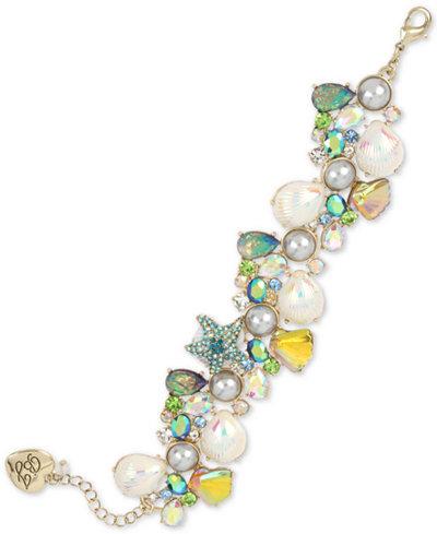 Betsey Johnson Gold-Tone Crystal & Imitation Pearl Seashell Cluster Flex Bracelet