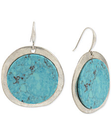 Robert Lee Morris Soho Silver-Tone Stone Disc Drop Earrings