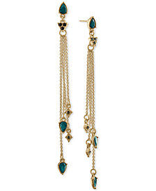 RACHEL Rachel Roy Gold-Tone Multi-Stone Multi-Row Linear Drop Earrings