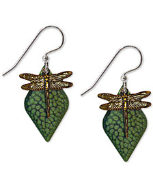 Jody Coyote Hand-Painted Dragonfly Drop Earrings in Antiqued Brass