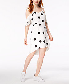 Bar III Flutter-Sleeve Dot-Print Dress, Created for Macy's