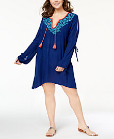 La Blanca Plus Size Cotton Leaf It To Me Cover-Up