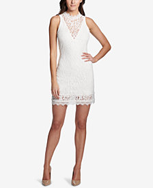 kensie Mock-Neck Illusion Lace Dress