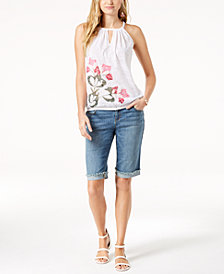 I.N.C. Sleeveless Floral Top & Contrast-Trim Denim Shorts, Created for Macy's
