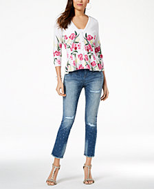 I.N.C. Floral-Print Peplum Cardigan & Studded Frayed-Hem Jeans, Created for Macy's