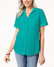 Button-Front Eyelet Cotton Top, Created for Macy's