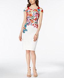 JAX Placed-Floral Cold-Shoulder Sheath Dress