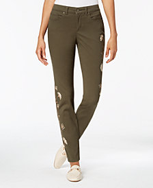Charter Club Bristol Embroidered Tummy-Control Ankle Jeans, Created for Macy's