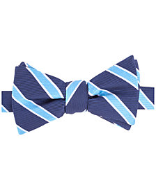 Tommy Hilfiger Men's Bedford Stripe Pre-Tied Silk Bow Tie