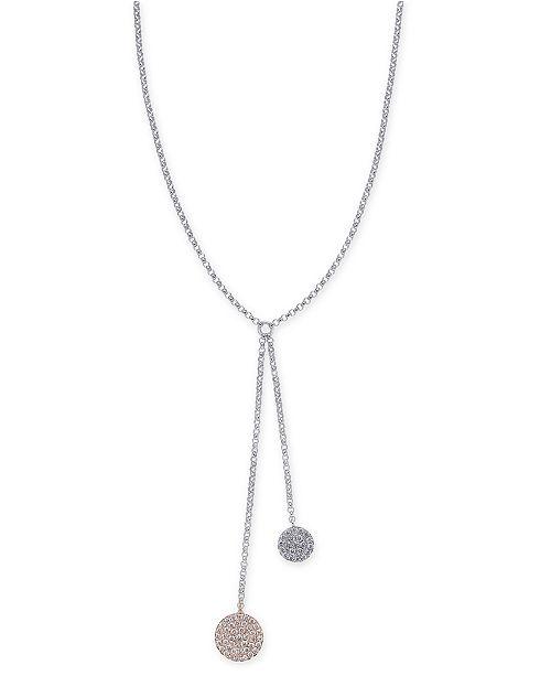 "Macy's Diamond Pavé Disc Lariat Necklace (1/4 ct. t.w.) in 14k White & Rose Gold, 16"" + 2"" extender"