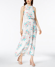 Nine West Floral-Print Ruffle Maxi Dress