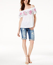 I.N.C. Embroidered Off-The-Shoulder Top & Ripped Denim Shorts, Crea