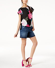I.N.C. Floral-Print Top & Released-Hem Shorts, Created for Macy's