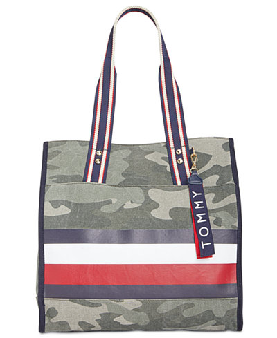 Tommy Hilfiger Carmel Camo Canvas North/South Large Tote