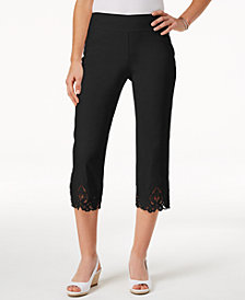 Charter Club Petite Crochet-Hem Capri Pants, Created for Macy's