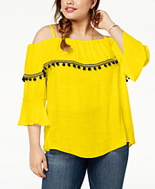 BCX Trendy Plus Size Pom-Pom Off-The-Shoulder Top